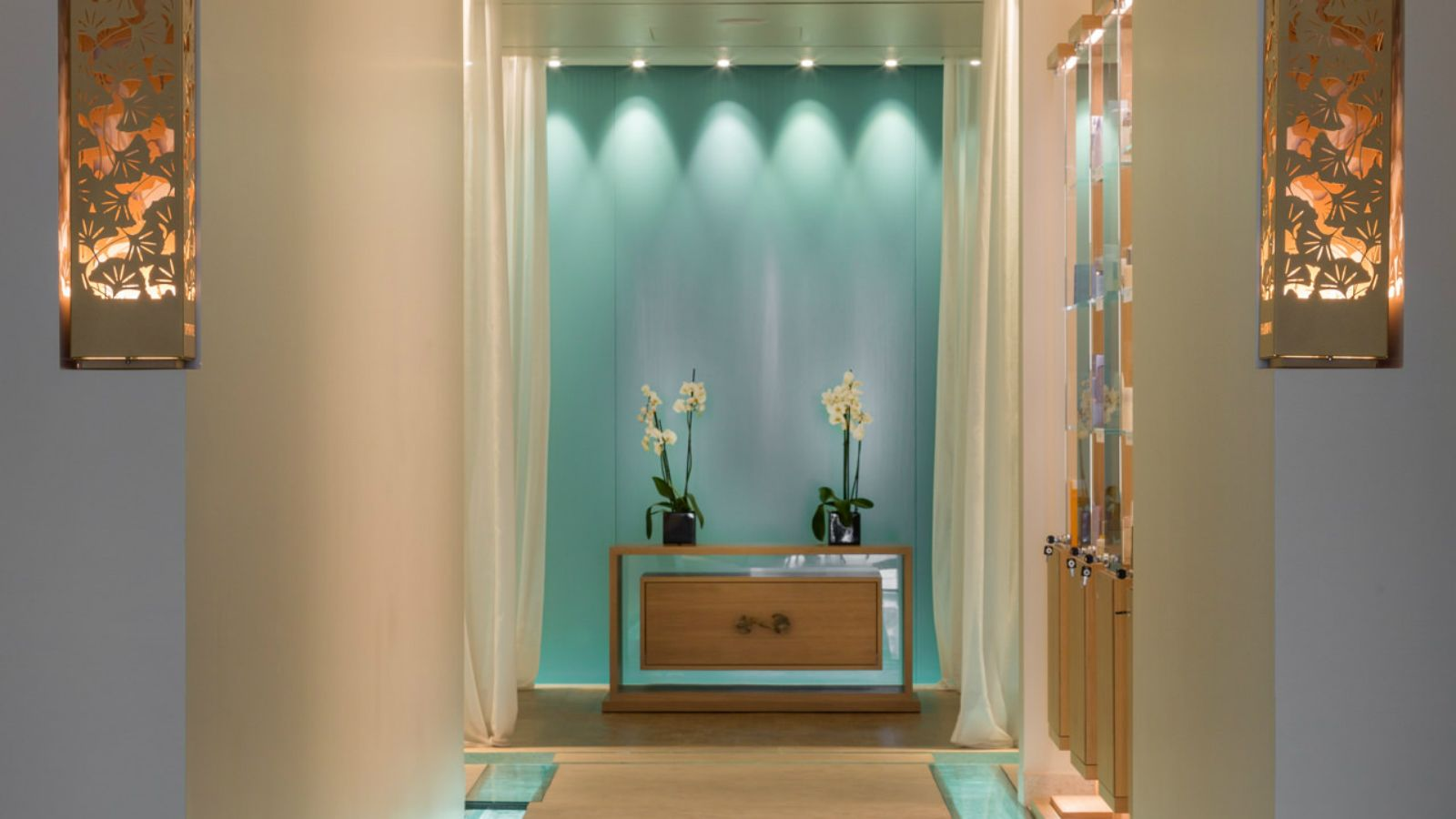 Corridor of the new Ginkgo Spa at Santa Marina Resort Mykonos The Luxury Collection
