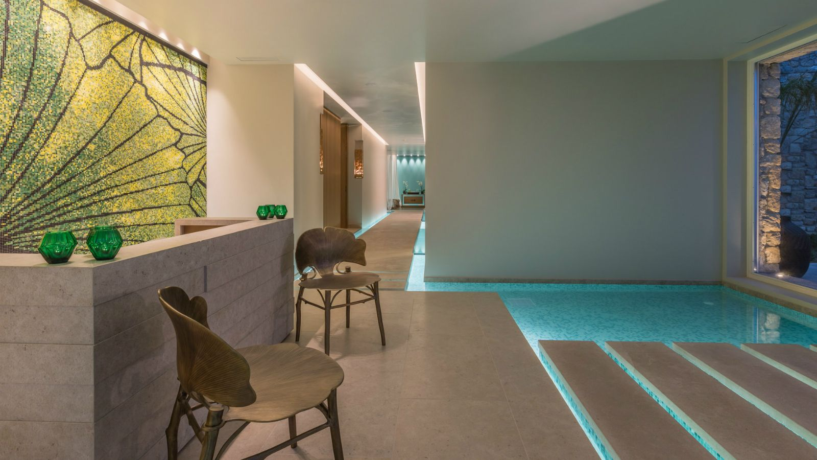 Reception area at the new Ginkgo Spa at Santa Marina Resort Mykonos The Luxury Collection