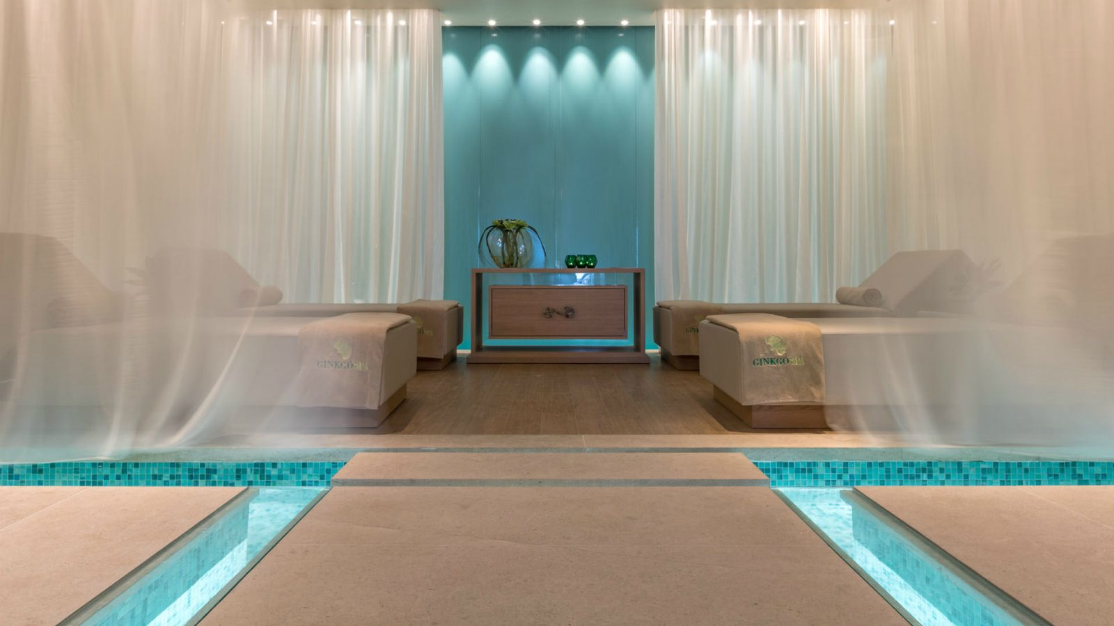 Relax area at the new Ginkgo Spa at Santa Marina Resort Mykonos The Luxury Collection