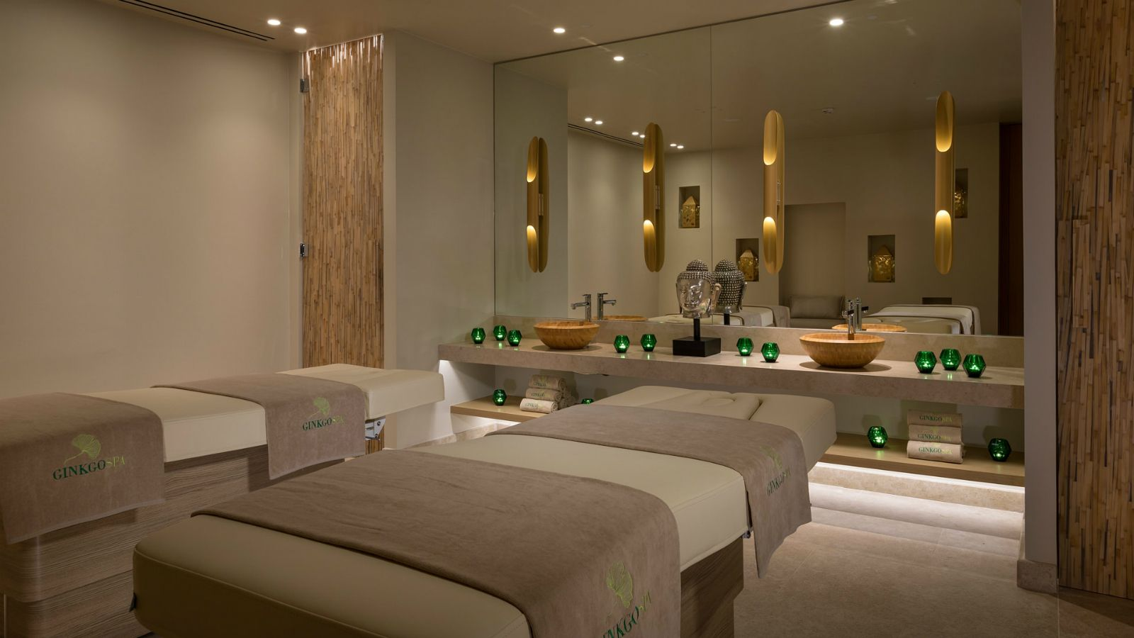 Treatment room at the new Ginkgo Spa at Santa Marina Resort Mykonos The Luxury Collection