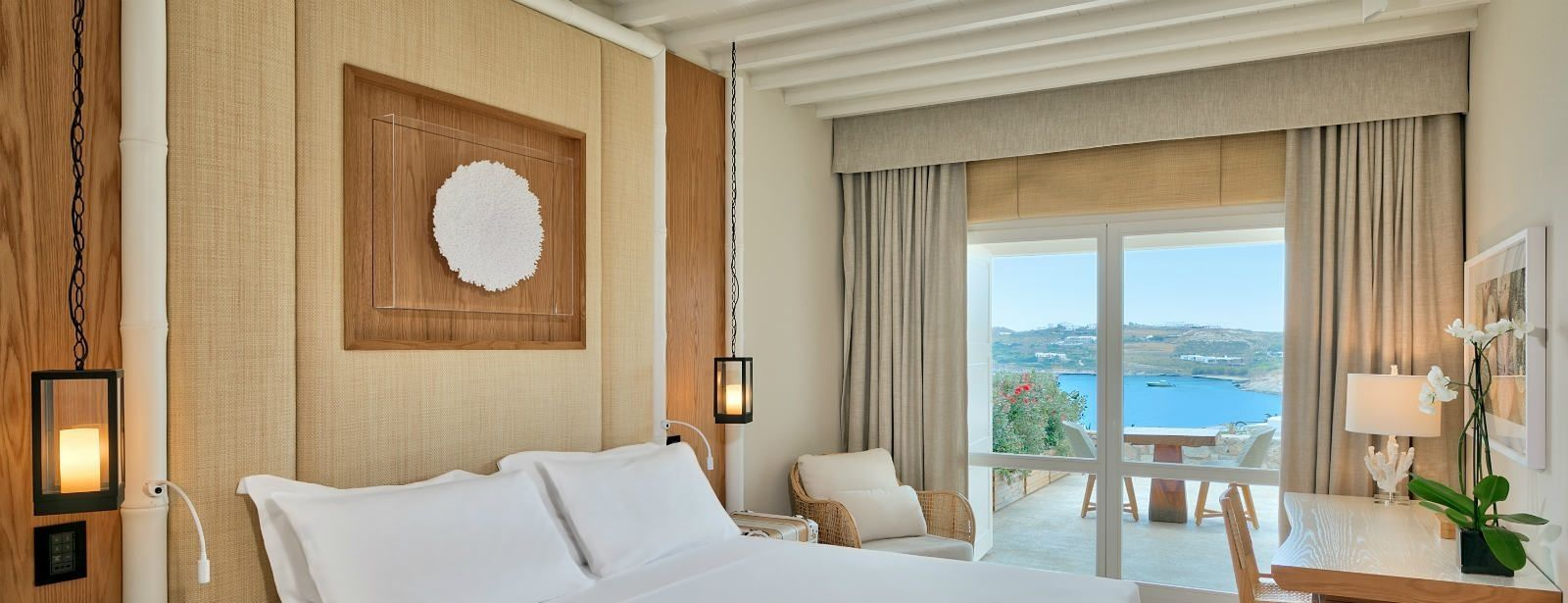 Deluxe Seaview Room with private balcony at Santa Marina Resort Mykonos Luxury Hotel